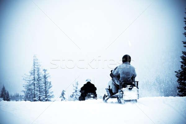 Téli sport lövés emberek lovaglás tél hóvihar Stock fotó © aremafoto