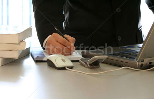 Businessman and laptop Stock photo © aremafoto