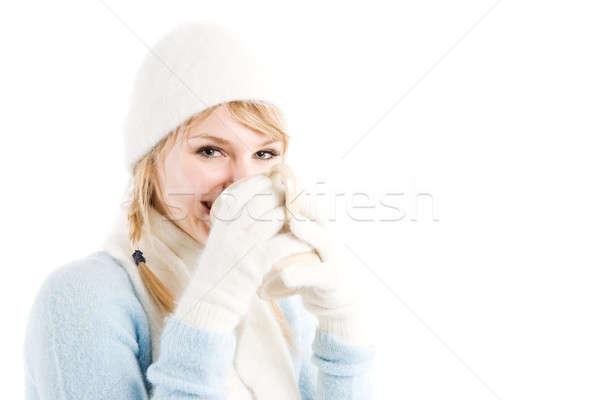 кавказский девушки питьевой кофе красивой горячей Сток-фото © aremafoto