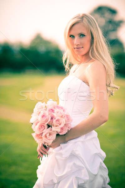 Stock fotó: Gyönyörű · menyasszony · lövés · kaukázusi · szabadtér · boldog