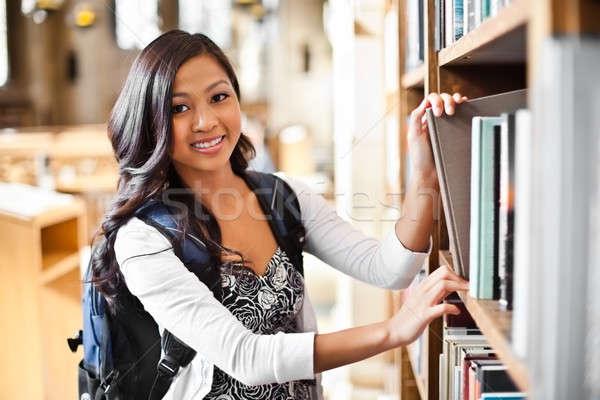 Photo stock: Asian · portrait · bibliothèque · femme · étudiant
