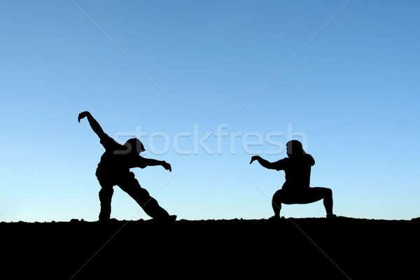 Küzdősportok két személy gyakorol felső hegy sziluett Stock fotó © aremafoto