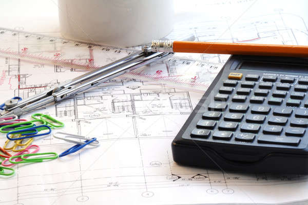 Casa plan trabajo casa lápiz brújula Foto stock © aremafoto