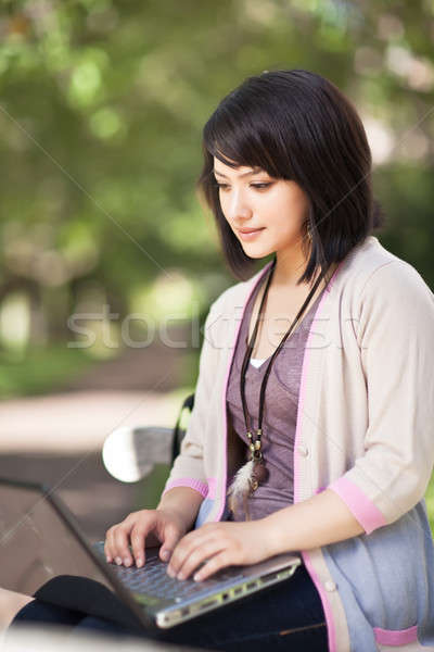 Stock foto: Laptop · arbeiten · Campus · Mädchen