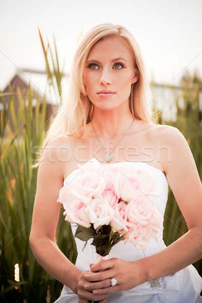 Stock fotó: Gyönyörű · menyasszony · lövés · kaukázusi · szabadtér · divat