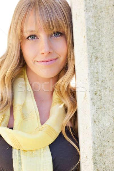 Foto stock: Belo · caucasiano · mulher · ao · ar · livre · retrato · jovem