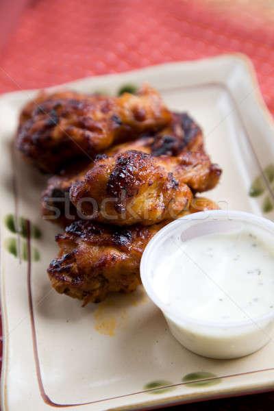 Kip vleugels shot plaat restaurant bbq Stockfoto © aremafoto