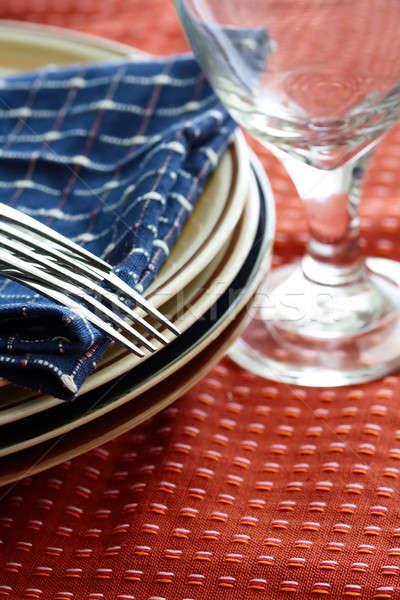 Eettafel shot voedsel metaal restaurant cafe Stockfoto © aremafoto