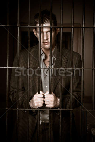 Stock fotó: üzletember · börtön · kaukázusi · ül · megbilincselve · üzlet