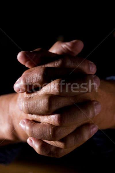 Сток-фото: молиться · человека · выстрел · старший · рук · поклонения