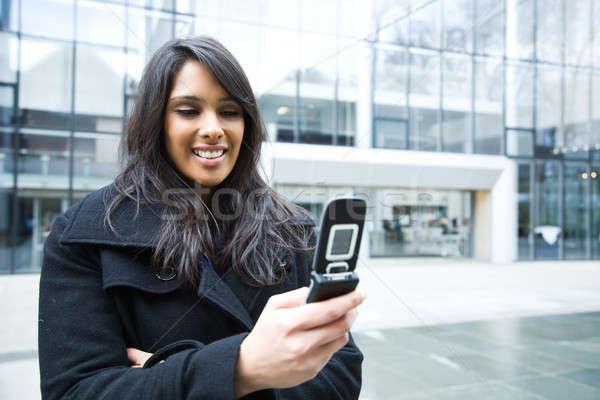 Stockfoto: Indian · zakenvrouw · telefoon · shot · outdoor