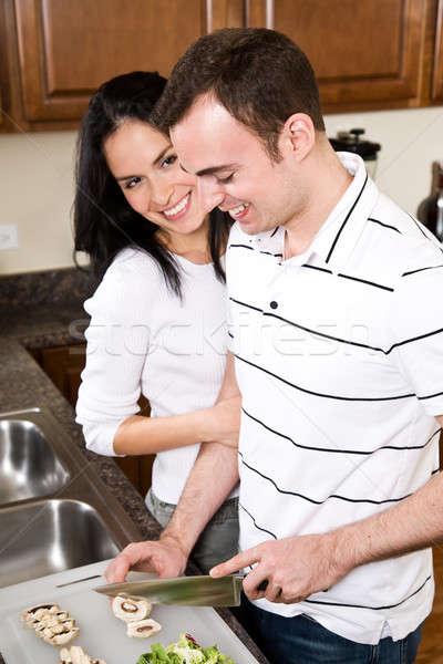 Сток-фото: кухне · красивой · пару · счастливым