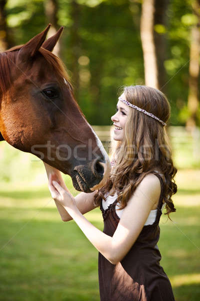 Сток-фото: девушки · лошади · портрет · кавказский · женщину · моде