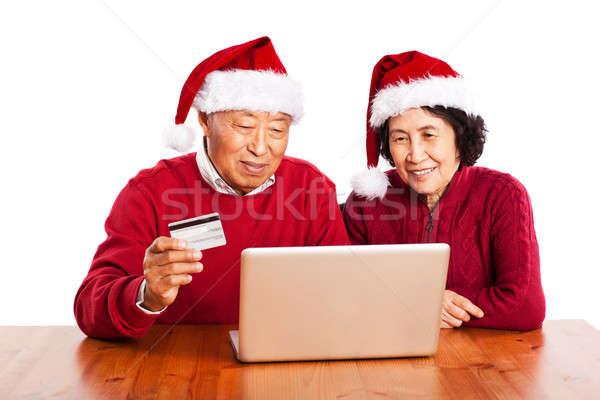 Stockfoto: Senior · asian · paar · winkelen · online · vieren