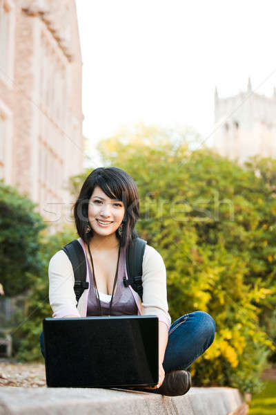 Mixed race college student with laptop Stock photo © aremafoto