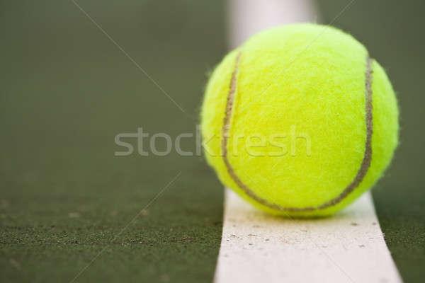 Foto d'archivio: Palla · da · tennis · primo · piano · shot · campo · da · tennis · salute · tennis