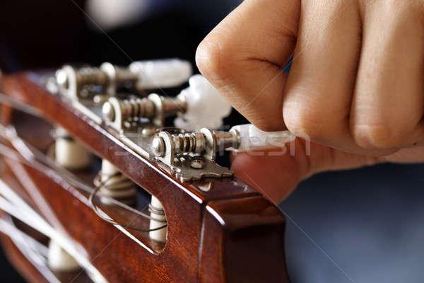 Gitar ayar müzik eller eğlence ses Stok fotoğraf © aremafoto
