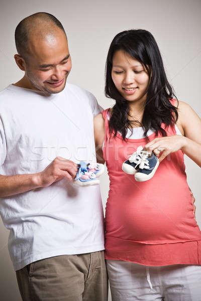 Happy expecting asian couple Stock photo © aremafoto