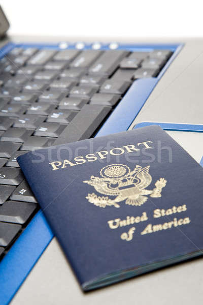 Online utazás foglalás lövés útlevél laptop Stock fotó © aremafoto
