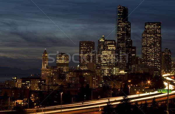 Belváros Seattle lövés csúcsforgalom fények mozgás Stock fotó © aremafoto