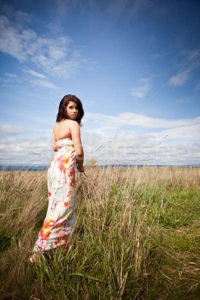 красивая девушка портрет красивой девушки Открытый Сток-фото © aremafoto