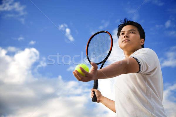 アジア 男性 演奏 テニス 小さな スポーティー ストックフォト © aremafoto