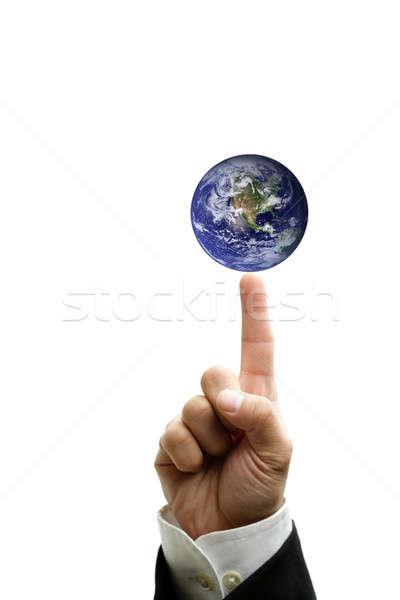 бизнесмен указательный палец указывая бизнеса работу Сток-фото © aremafoto