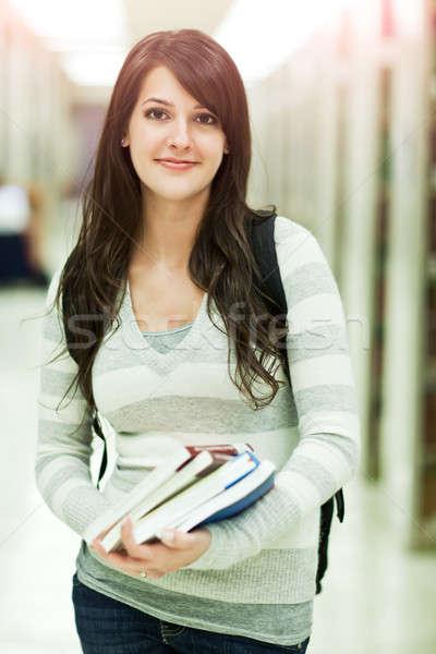 Félvér diák portré főiskolai hallgató kampusz nő Stock fotó © aremafoto