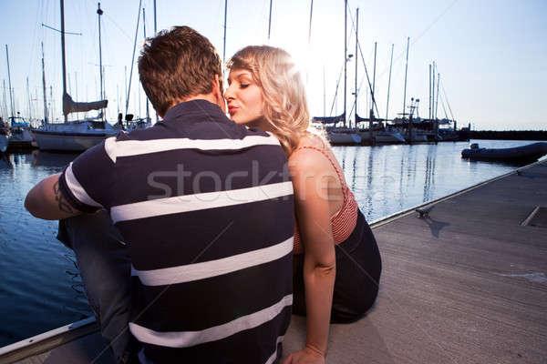Romantyczny para miłości shot zewnątrz Zdjęcia stock © aremafoto