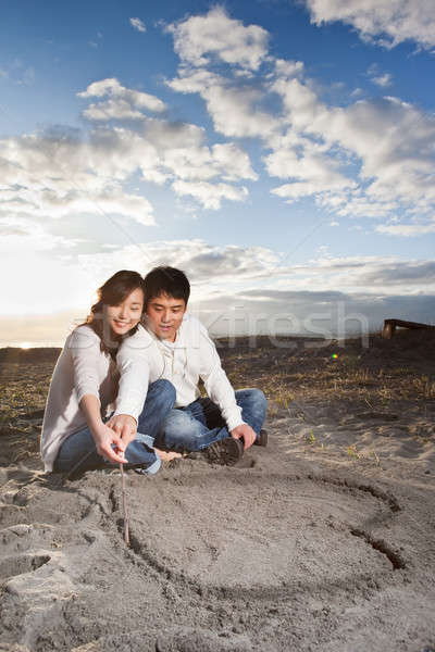 азиатских пару портрет рисунок любви символ Сток-фото © aremafoto