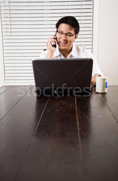 Photo stock: Asian · entrepreneur · téléphone · parler · travail · affaires