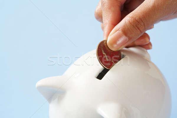 Geld besparing vrouw munt spaarvarken handen Stockfoto © aremafoto