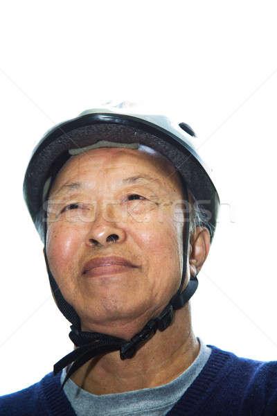 Senior asian man with bike helmet Stock photo © aremafoto