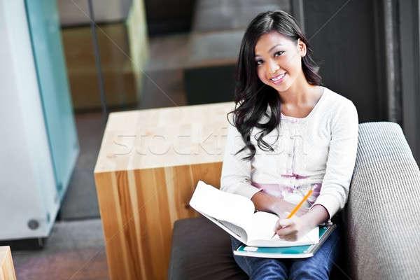 Foto d'archivio: Asian · studente · campus · shot · studiare · donna