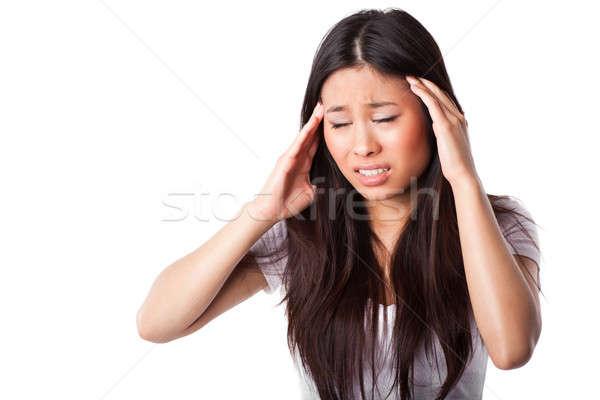 Asian woman having headache Stock photo © aremafoto
