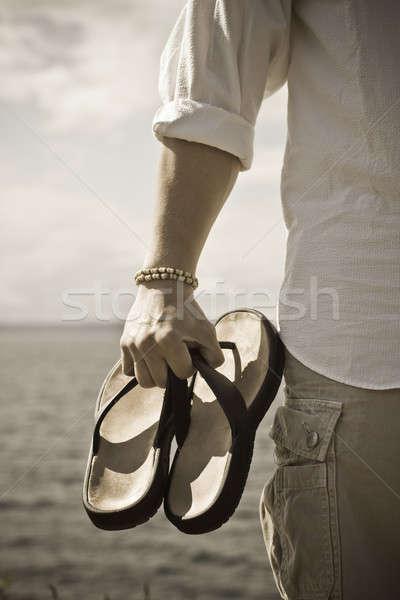 Nyár tengerpart vakáció lövés férfi hordoz Stock fotó © aremafoto
