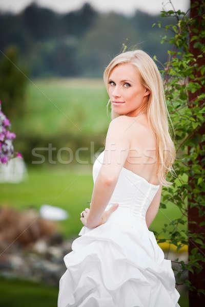 Stock fotó: Gyönyörű · menyasszony · lövés · kaukázusi · szabadtér · női