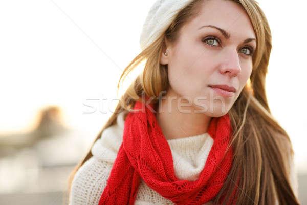 Stock fotó: Tél · nő · lövés · gyönyörű · kaukázusi · szabadtér