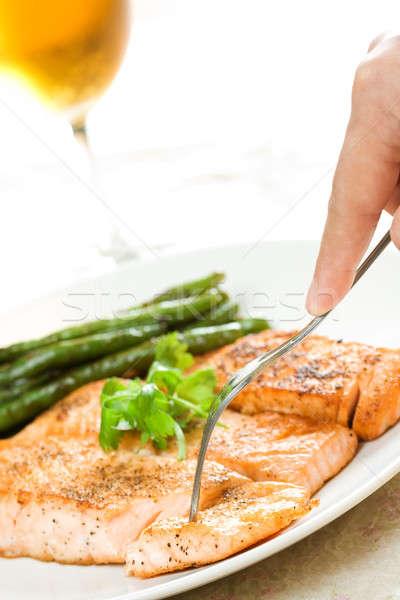 Сток-фото: лосося · выстрел · строку · бобов · вино