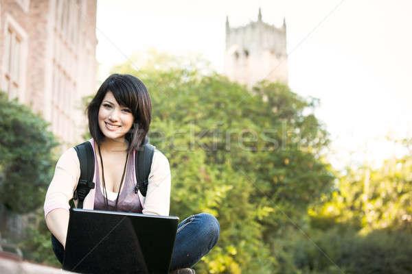 Stock foto: Laptop · arbeiten · Campus · Frau