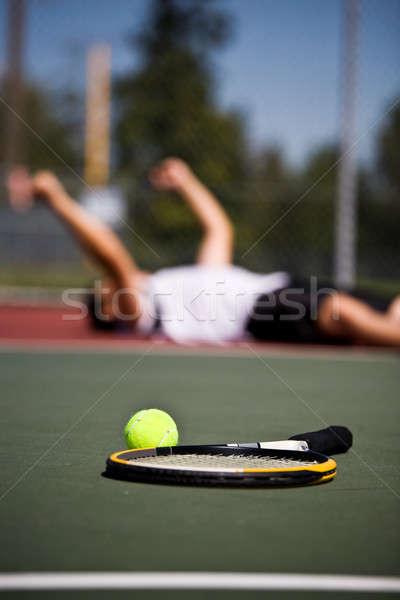 Feliz ganar jóvenes tribunal Foto stock © aremafoto