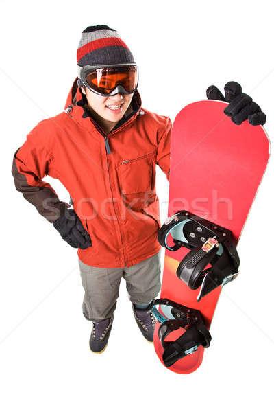 Snowboarder isolato shot asian felice maschio Foto d'archivio © aremafoto