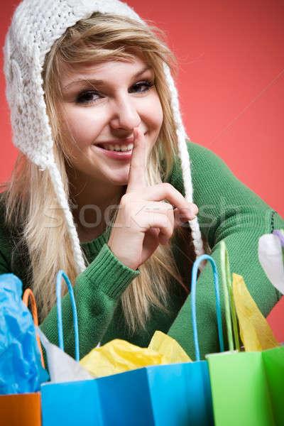 Shopping caucasian girl shushing Stock photo © aremafoto
