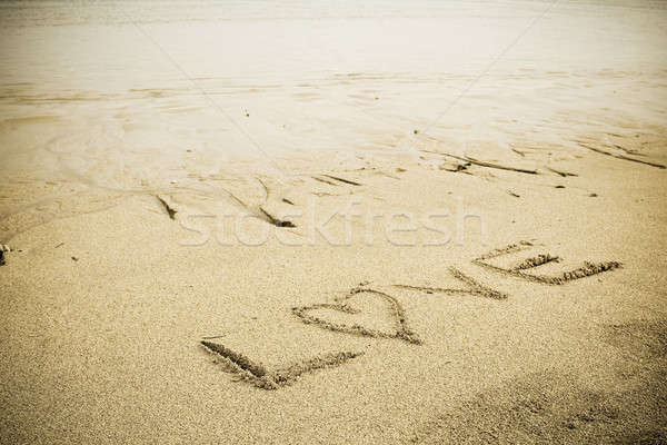 Stock photo: Love sign on the beach