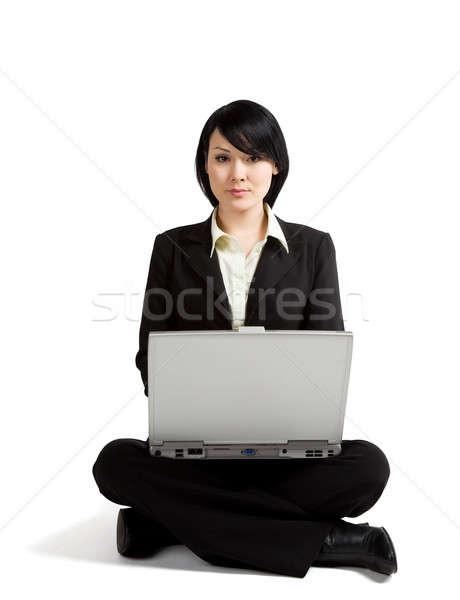 рабочих деловая женщина сидят полу ноутбука бизнеса Сток-фото © aremafoto