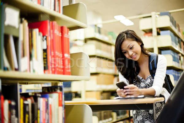 Foto stock: Asia · estudiante · tiro · teléfono · campus