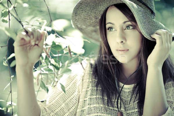 Stock fotó: Gyönyörű · ázsiai · nő · divat · lövés · szabadtér