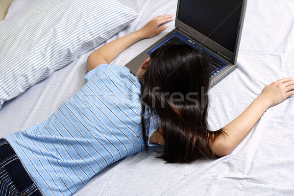 Girl and laptop Stock photo © aremafoto