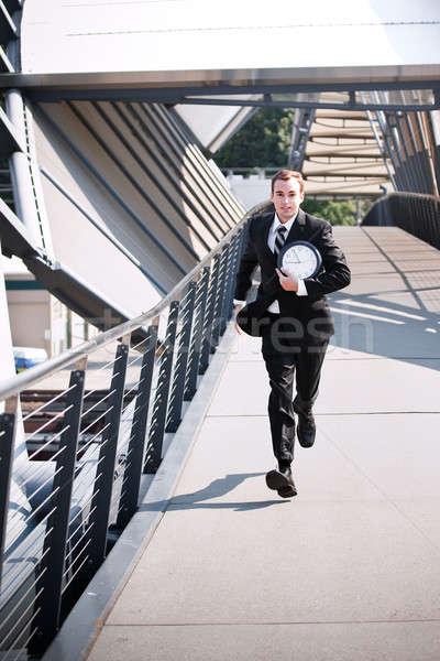 Laat kaukasisch zakenman haast lopen uitvoerende Stockfoto © aremafoto