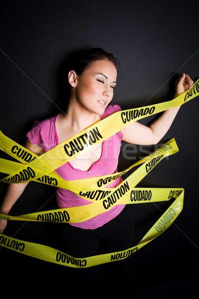 女性実業家 注意 テープ ショット 閉じ込められた ビジネス ストックフォト © aremafoto